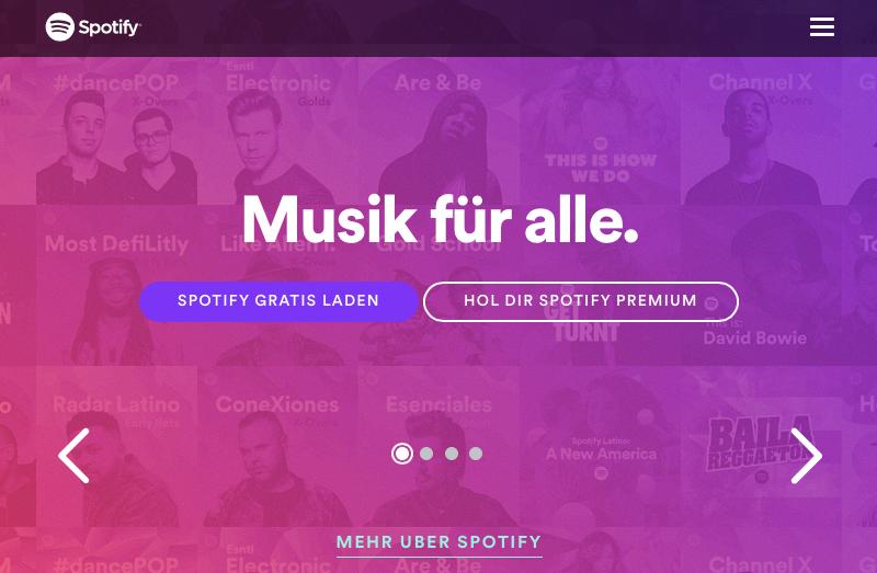Spotify Startseite