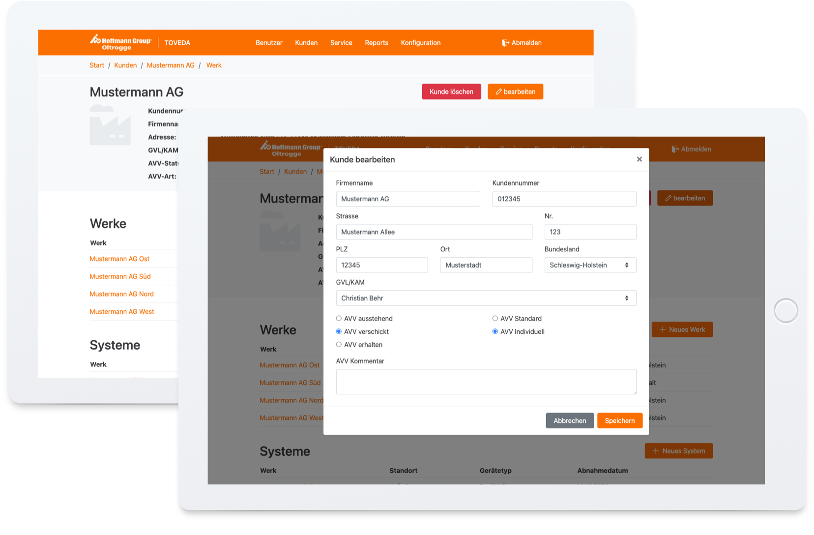 TOVEDA Webapplikation Kundenverwaltung auf Tablet