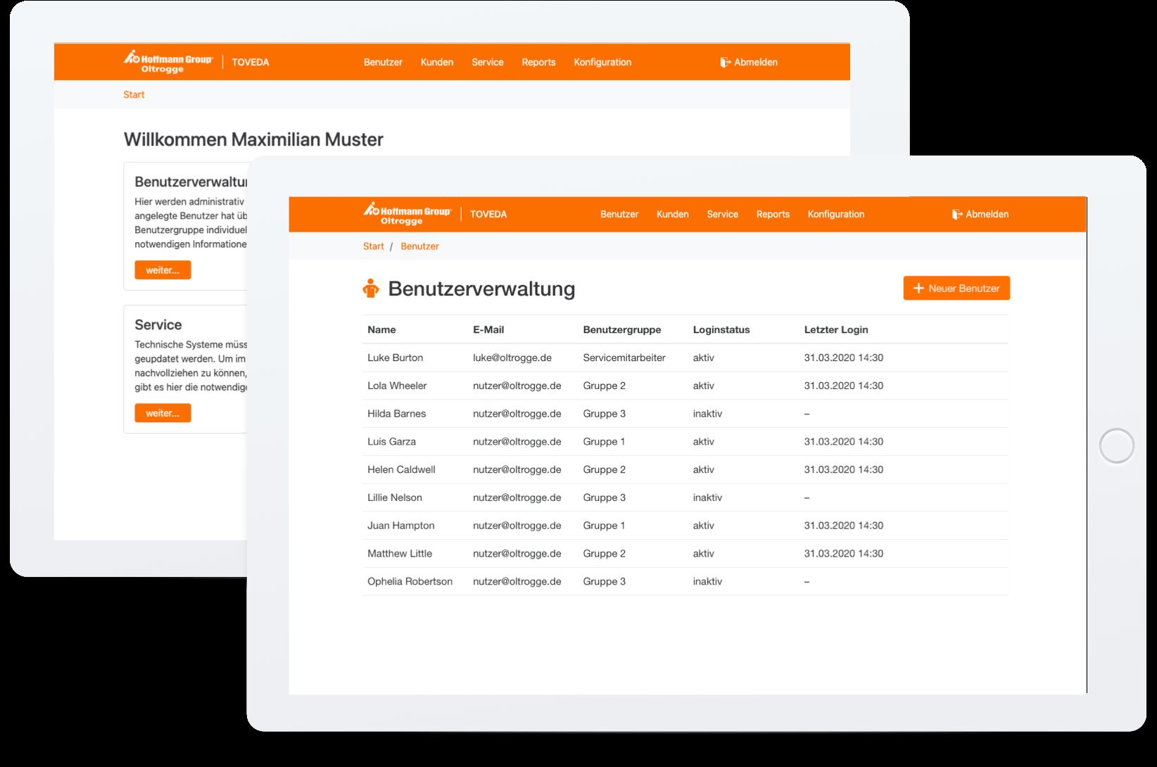 TOVEDA Webapplikation Startbildschirm und Benutzerverwaltung auf Tablet
